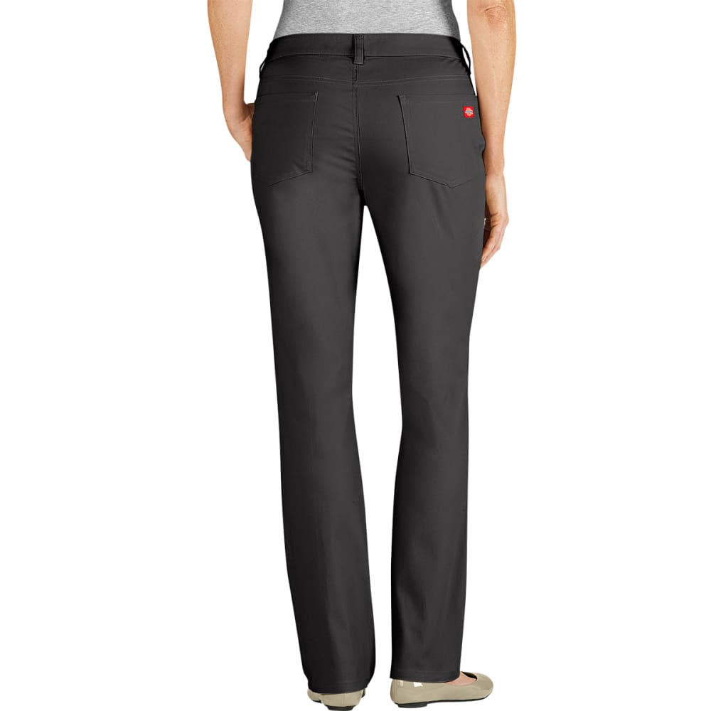 DICKIES Women's 5-Pocket Straight Leg Brush Twill Pants, Slim Fit - BLACK