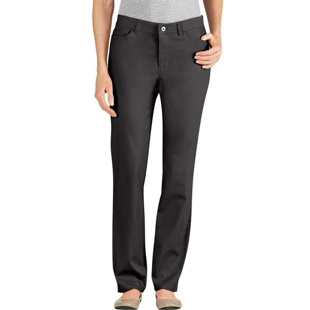DICKIES Women's 5-Pocket Straight Leg Brush Twill Pants, Slim Fit - BLACK