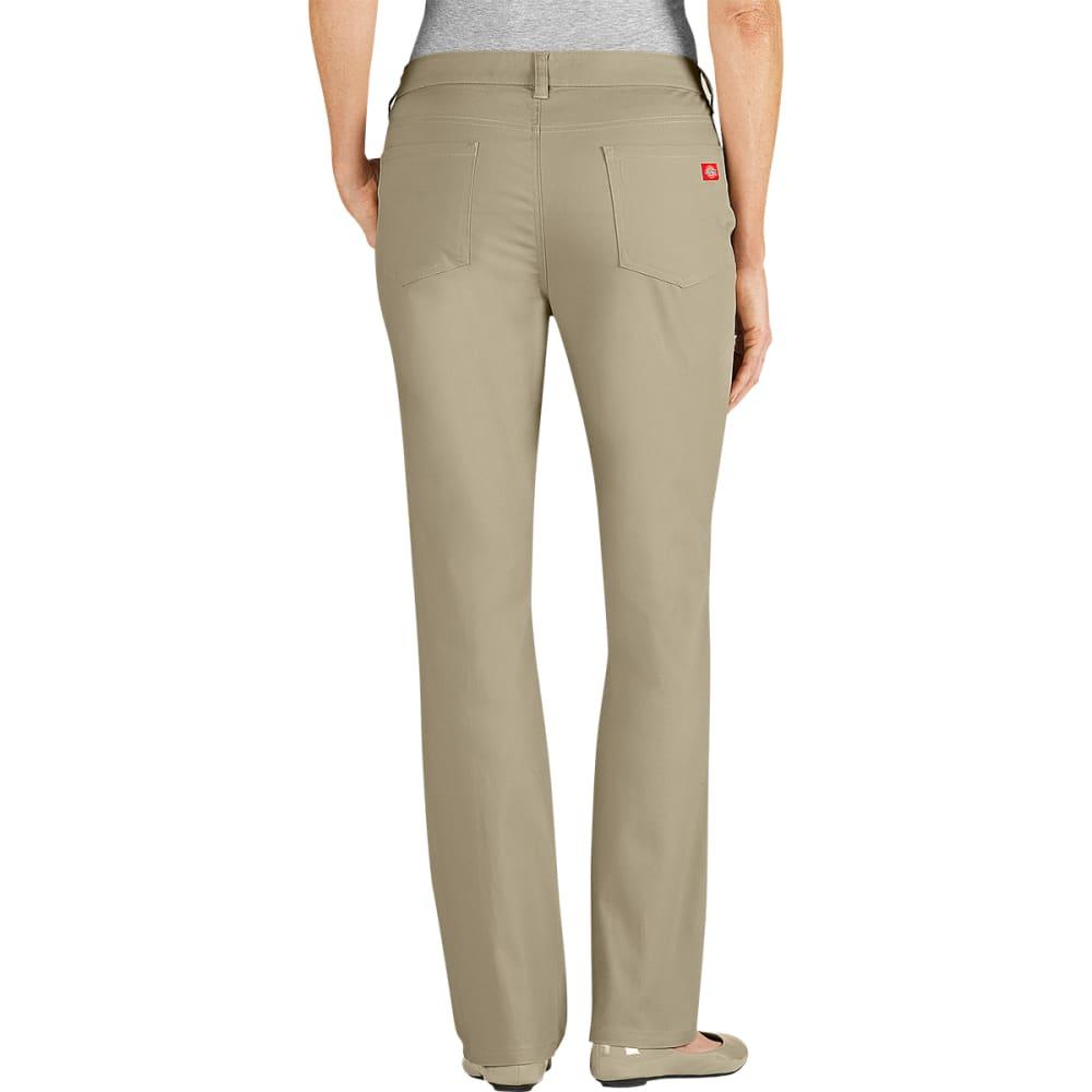 DICKIES Women's 5-Pocket Straight Leg Brush Twill Pants, Slim Fit - DESERT SAND