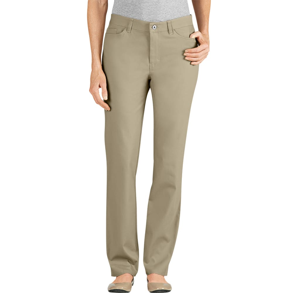 DICKIES Women's 5-Pocket Straight Leg Brush Twill Pants, Slim Fit - DESERT SAND