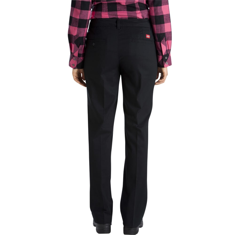 DICKIES Women's Relaxed Fit Straight Leg Stretch Twill Pants - BLACK