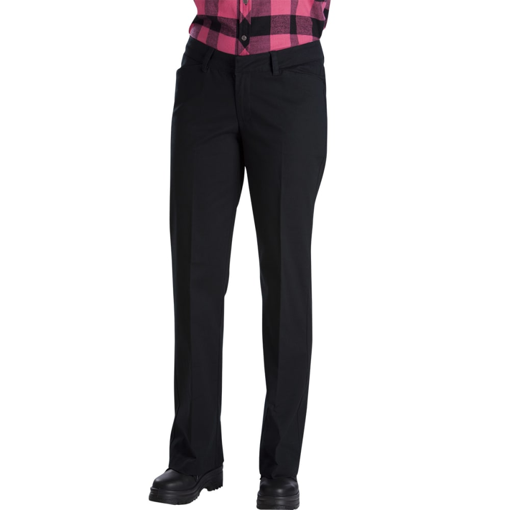 Dickies Women's Relaxed Fit Straight Leg Stretch Twill Pants - Black, 02/32