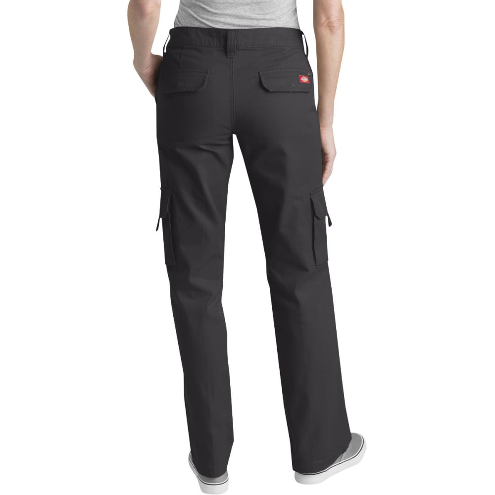 DICKIES Women's Relaxed Cargo Pants - RINSED BLACK-RBK