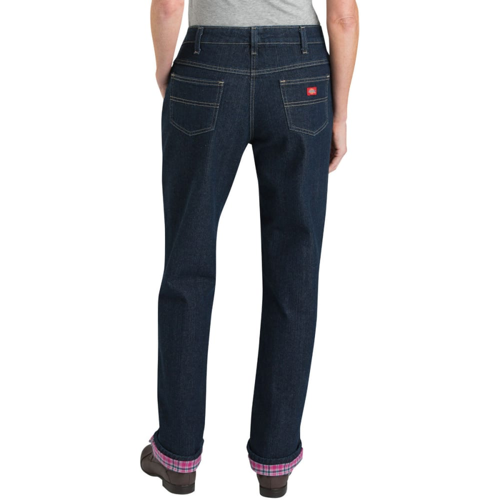 DICKIES Women's Relaxed Fit Straight Leg Flannel Lined Jeans - STONE BLUE