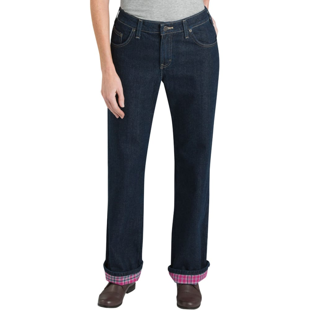 Dickies Women's Relaxed Fit Straight Leg Flannel Lined Jeans - Blue, 24/32