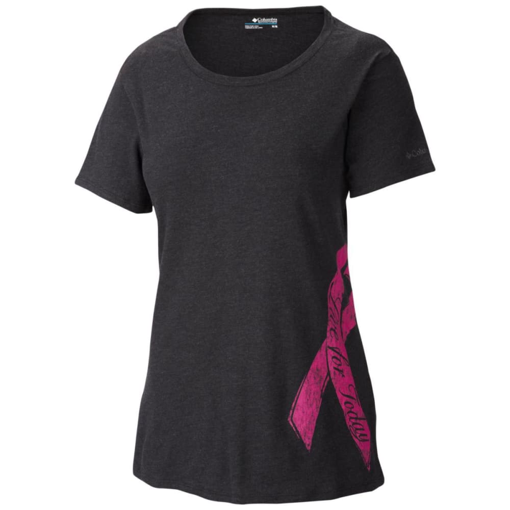COLUMBIA Women's Tough In Pink Tee - BLOWOUT - CHARCOAL HEATHER