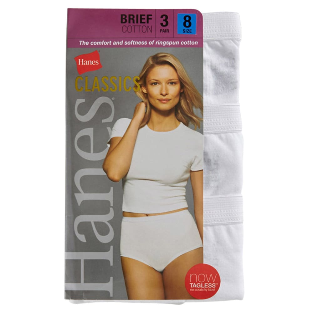 HANES Women's Classics Cotton Briefs, 3-Pack  - WHITE
