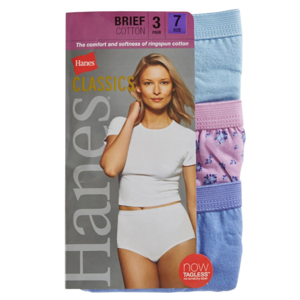 HANES Women's Classics Cotton Briefs, 3-Pack  - ASSORTED