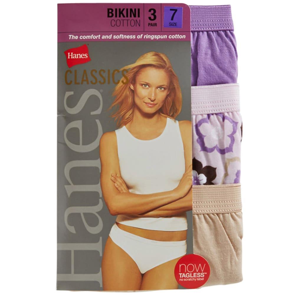 HANES Women's Classics Cotton Bikinis, 3-Pack - ASSORTED