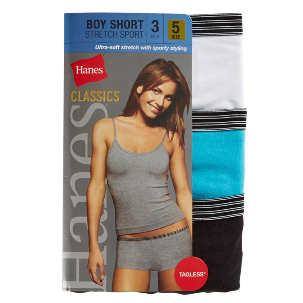HANES Women's Classics Boy Sport Stretch Shorts, 3-Pack - ASSORTED