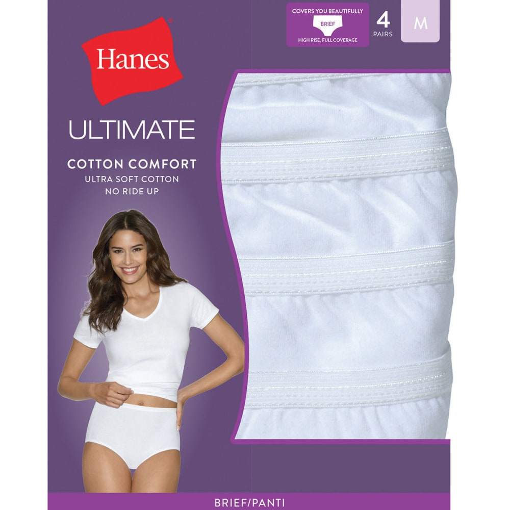 HANES Women's Ultimate Cotton Comfort Briefs 4 Pack Panties - WHITE/ELEMENTAL