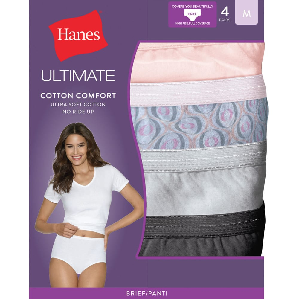 HANES Women's Ultimate Cotton Comfort Briefs 4 Pack Panties - ASSORTED 40KUC5