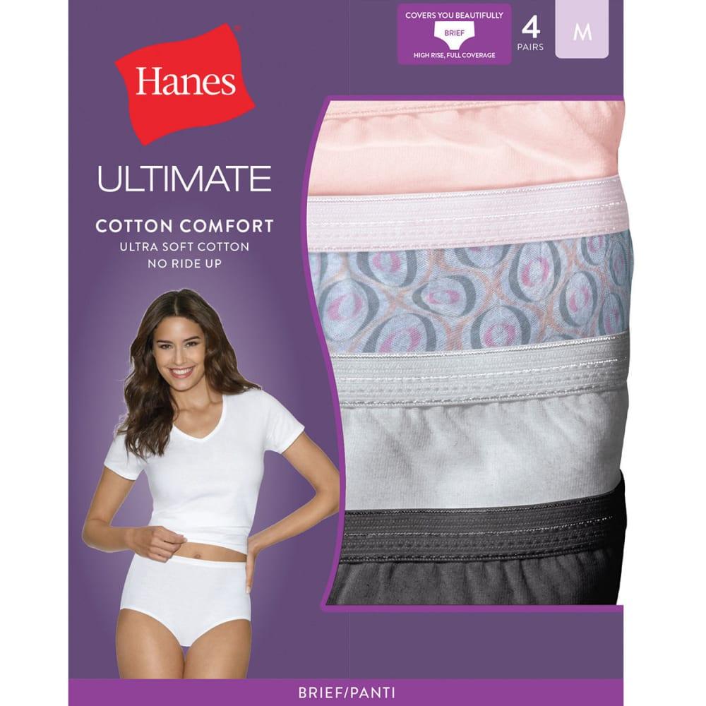 HANES Women's Ultimate Cotton Comfort Briefs 4 Pack Panties - ASSORTED 40KUC5