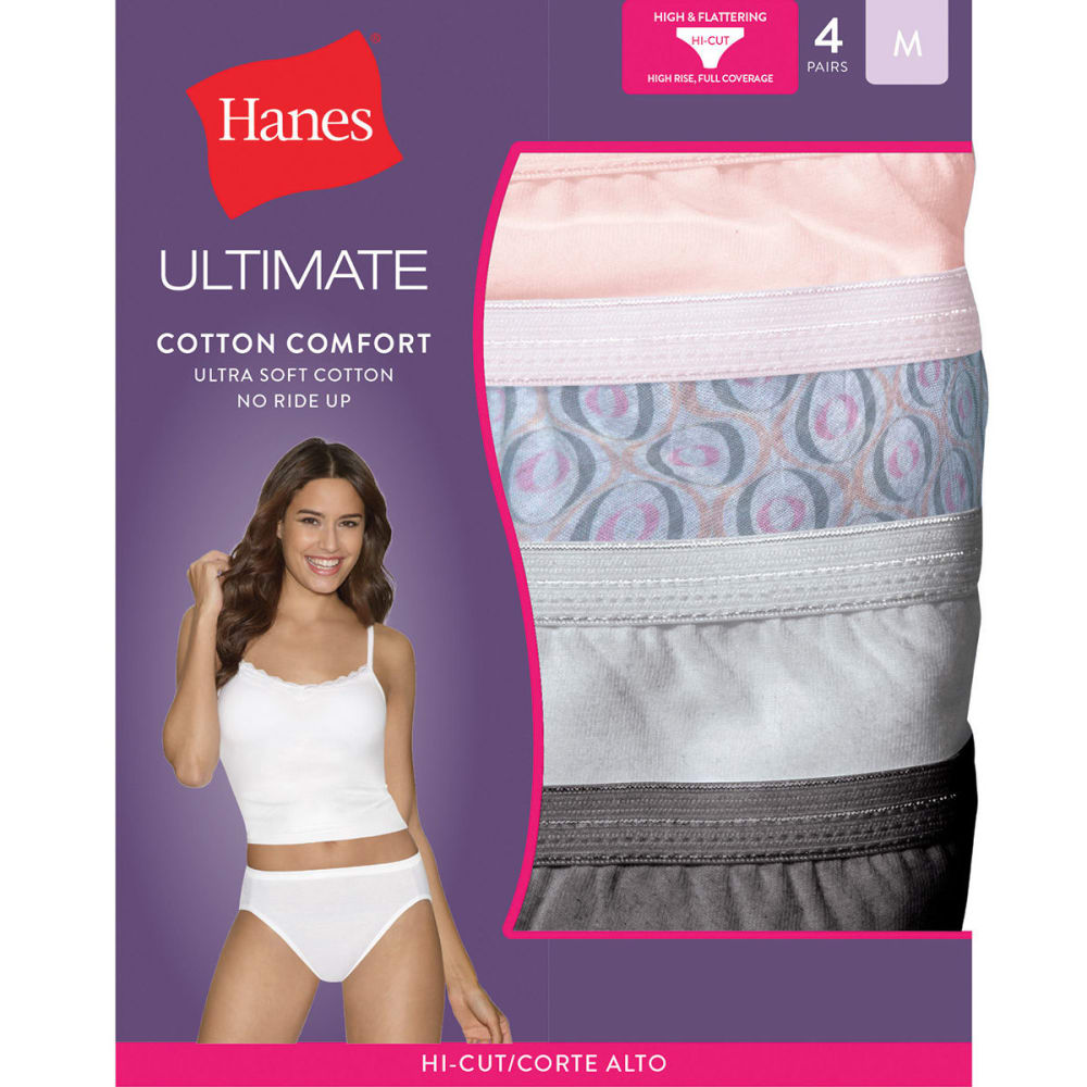 HANES Women's Ultimate Cotton Comfort Hi-Cut Panties 4-Pack - ASSORTED 43KUC5