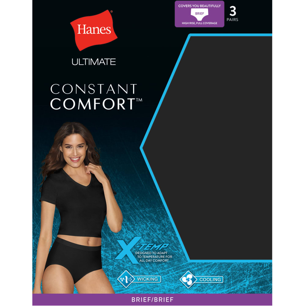 HANES Women's Ultimate Comfort X-Temp Brief Panties 3-Pack - ASSORTED