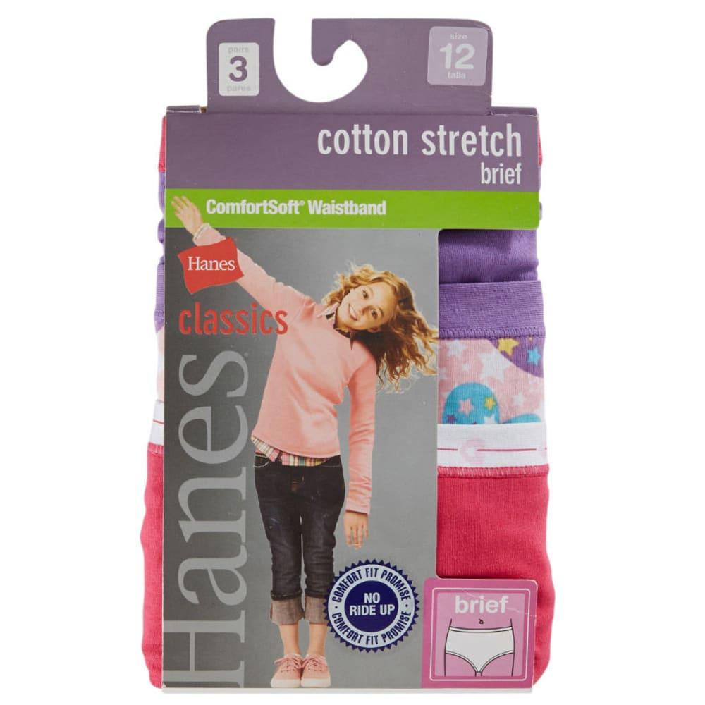 HANES Girls' Classics Cotton Stretch Briefs, 3-Pack - ASSORTED