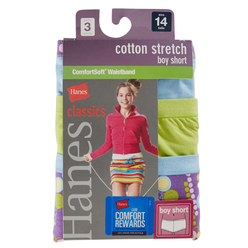 HANES Girls' Classics Cotton Stretch Boy Shorts, 3-Pack  - ASSORTED