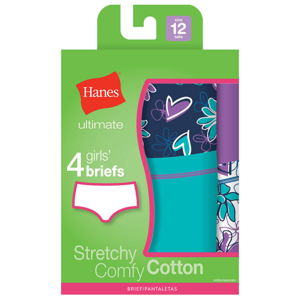 HANES Girl's Cotton Stretch Brief Panties 4-Pack - ASSORTED