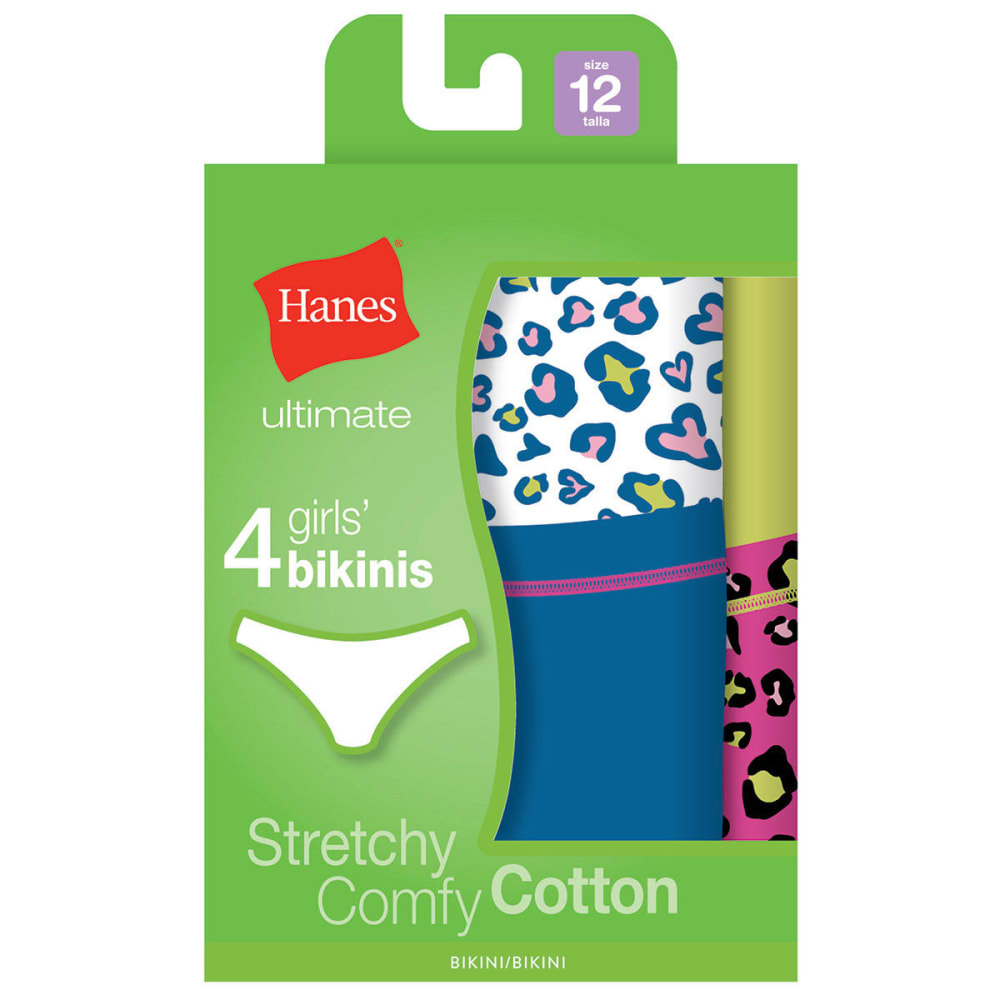 HANES Girl's Cotton Stretch Bikini Panties 4-Pack - ASSORTED