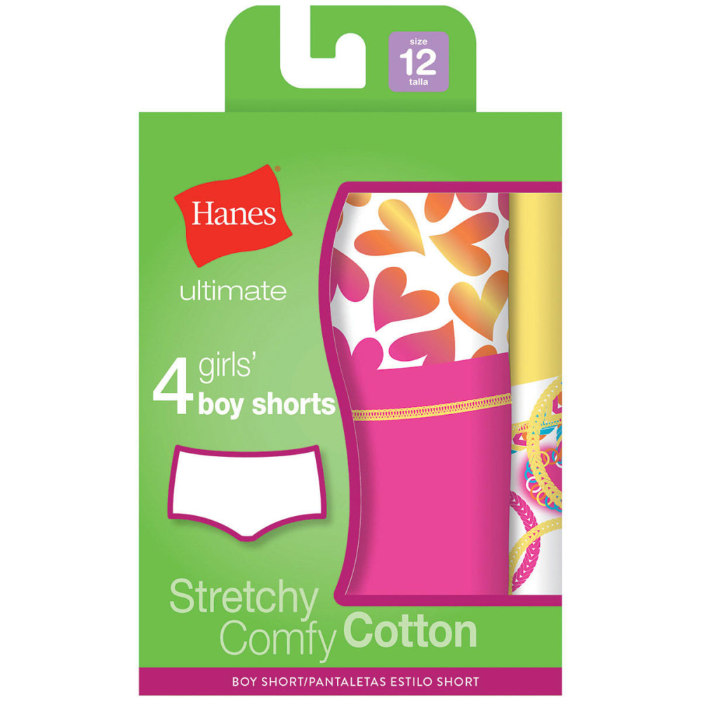 HANES Girl's Cotton Stretch Boyshorts 4-Pack - ASSORTED