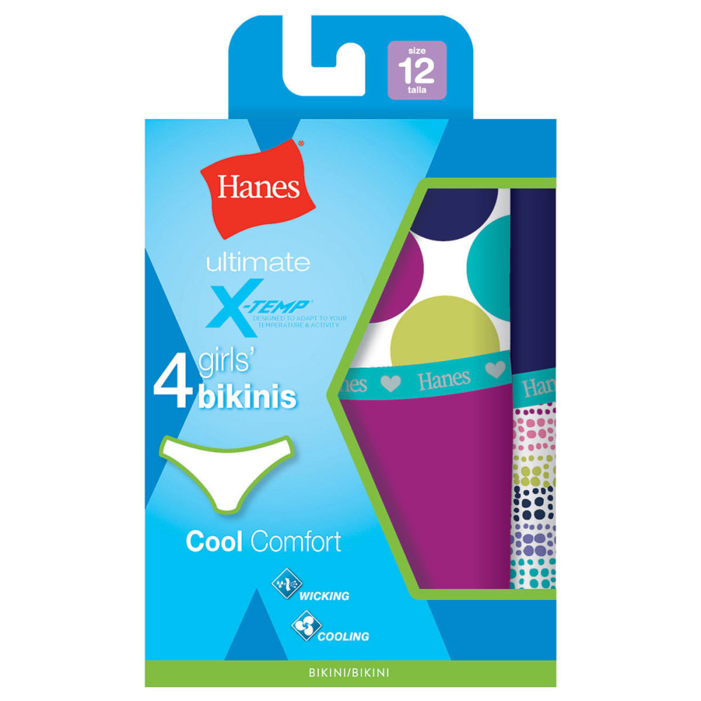 HANES Girl's Ultimate X-Temp Cool Comfort Bikini Panties 4-Pack - ASSORTED