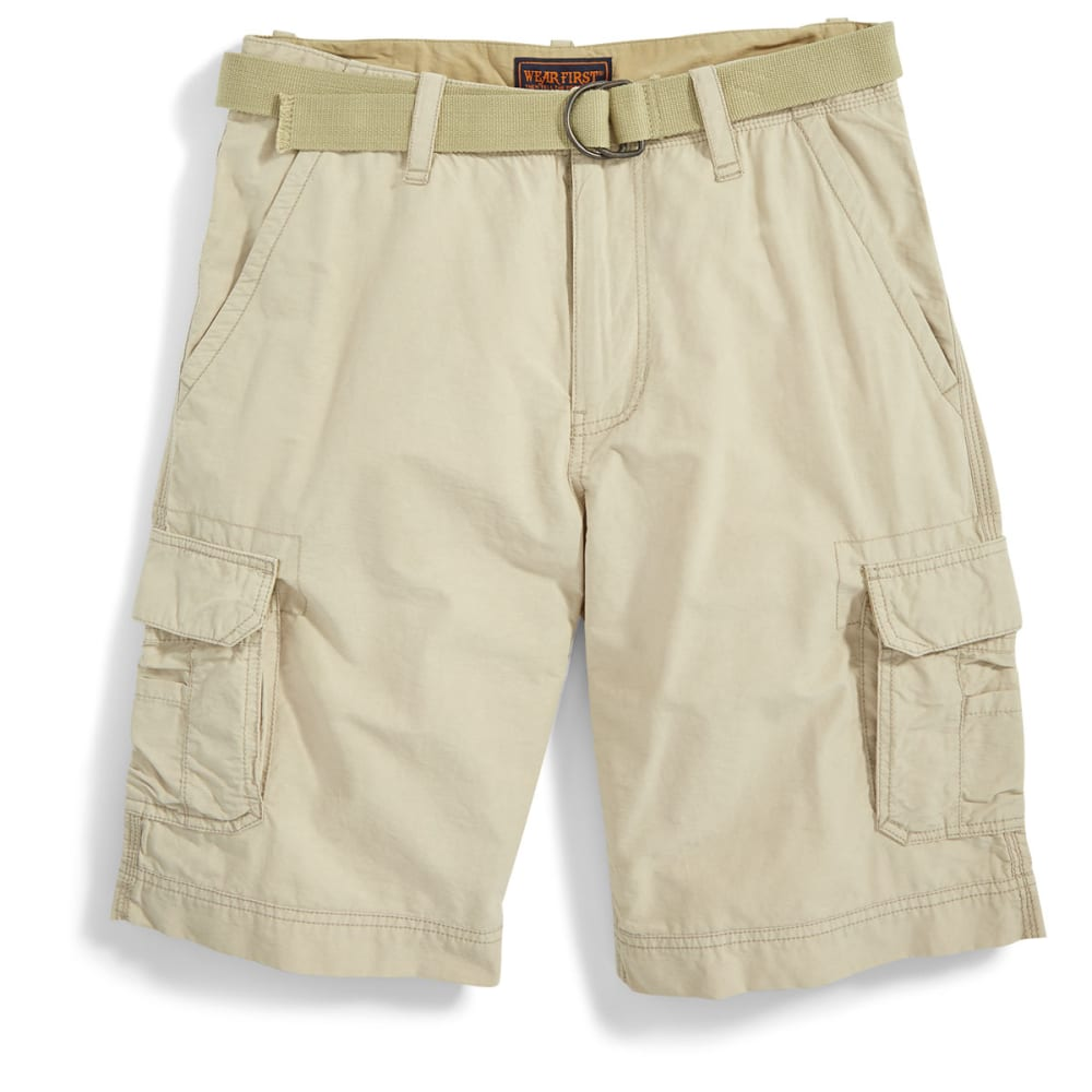 WEAR FIRST Guys' Belted Cargo Shorts - SAND