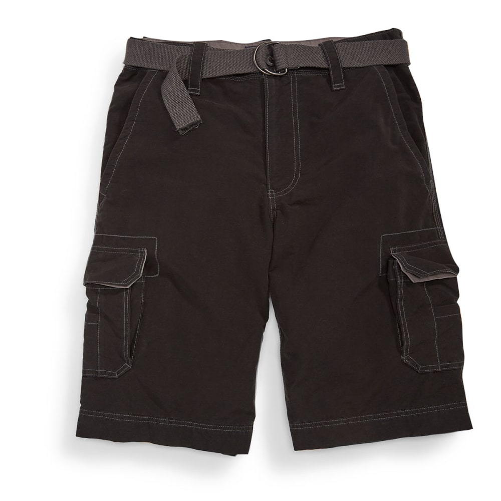 WEAR FIRST Guys' Belted Cargo Shorts - BLACK