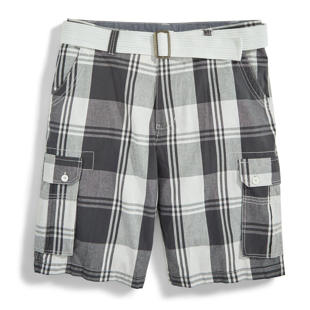 BURNSIDE Men's Belted Cargo Shorts - GREY/WHITE