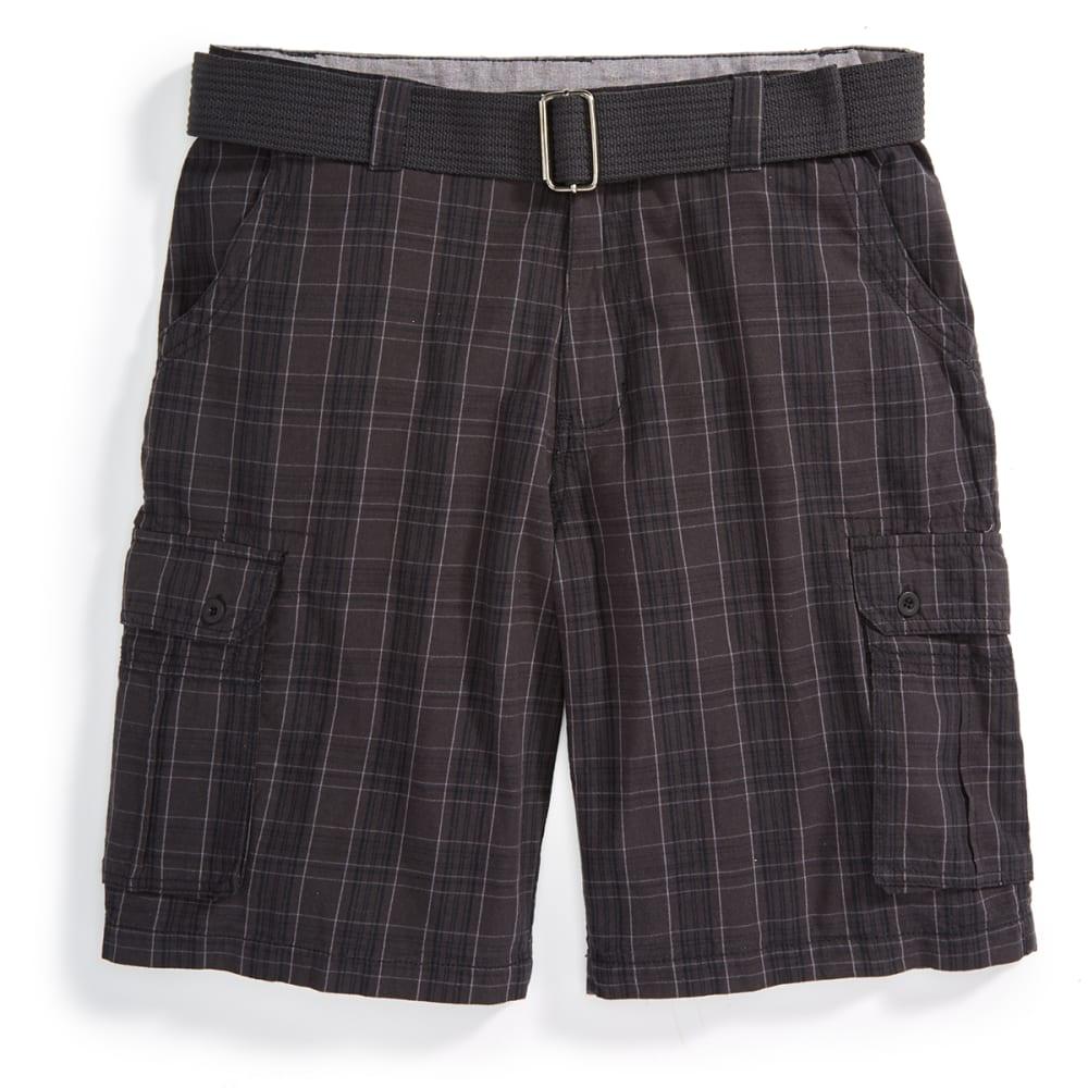 BURNSIDE Men's Belted Cargo Shorts - DARK GREY