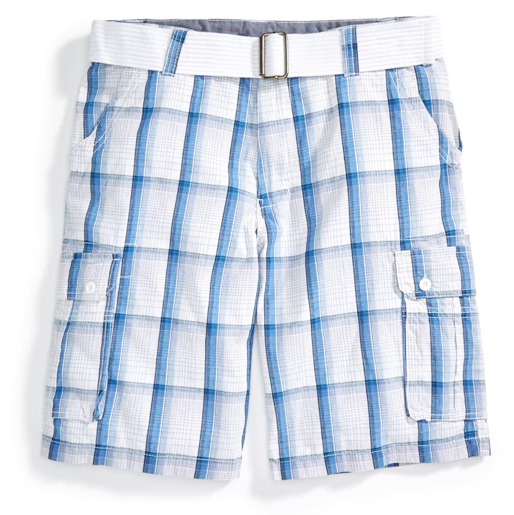 BURNSIDE Men's Belted Cargo Shorts - WHITE