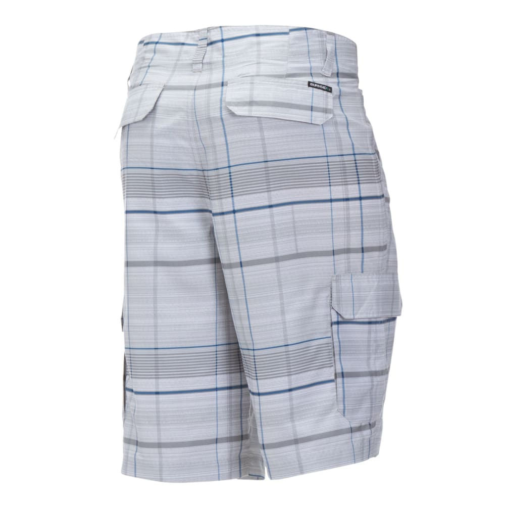 BURNSIDE Guys' Microfiber Plaid Shorts - TRUE GREY HEATHER/BL