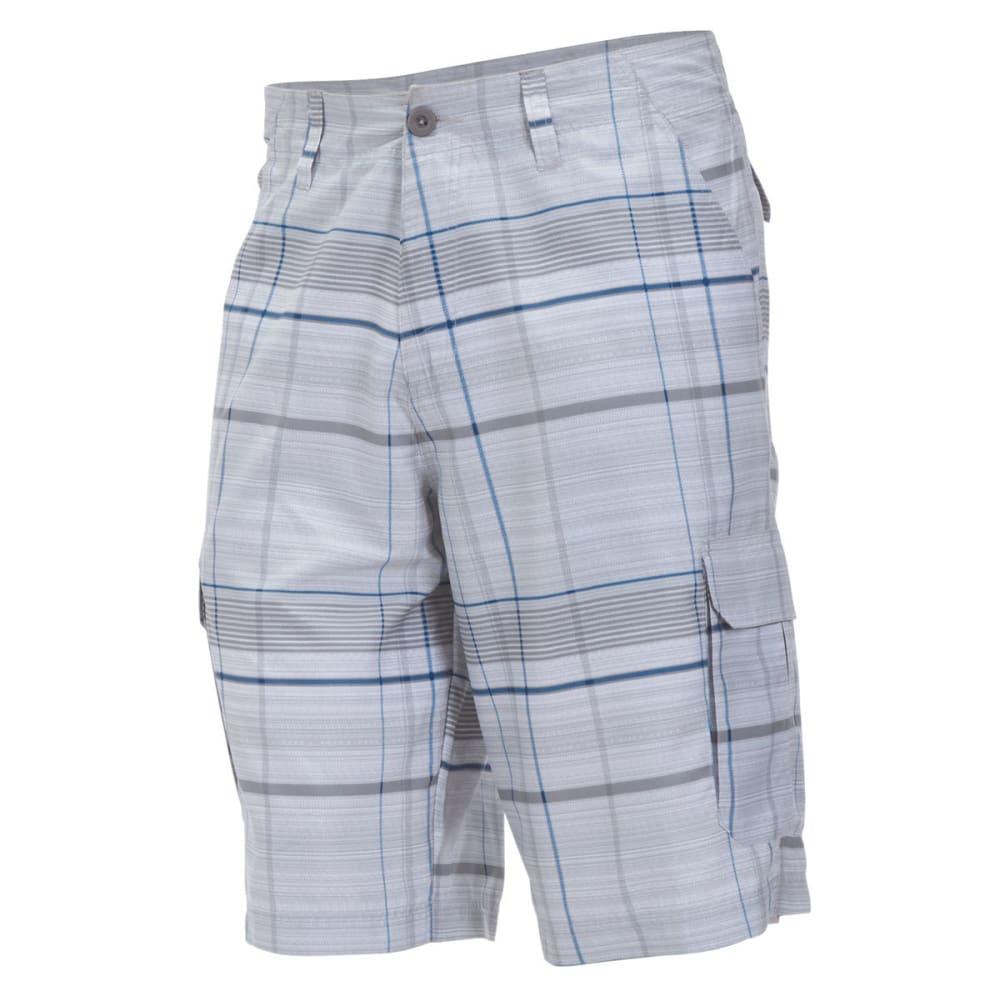 BURNSIDE Guys' Microfiber Plaid Shorts - TRUE GREY HEATHER/BL