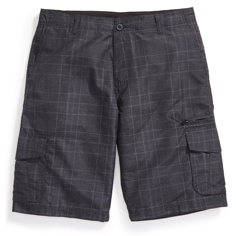 BURNSIDE Guys' Microfiber Plaid Shorts - BLACK