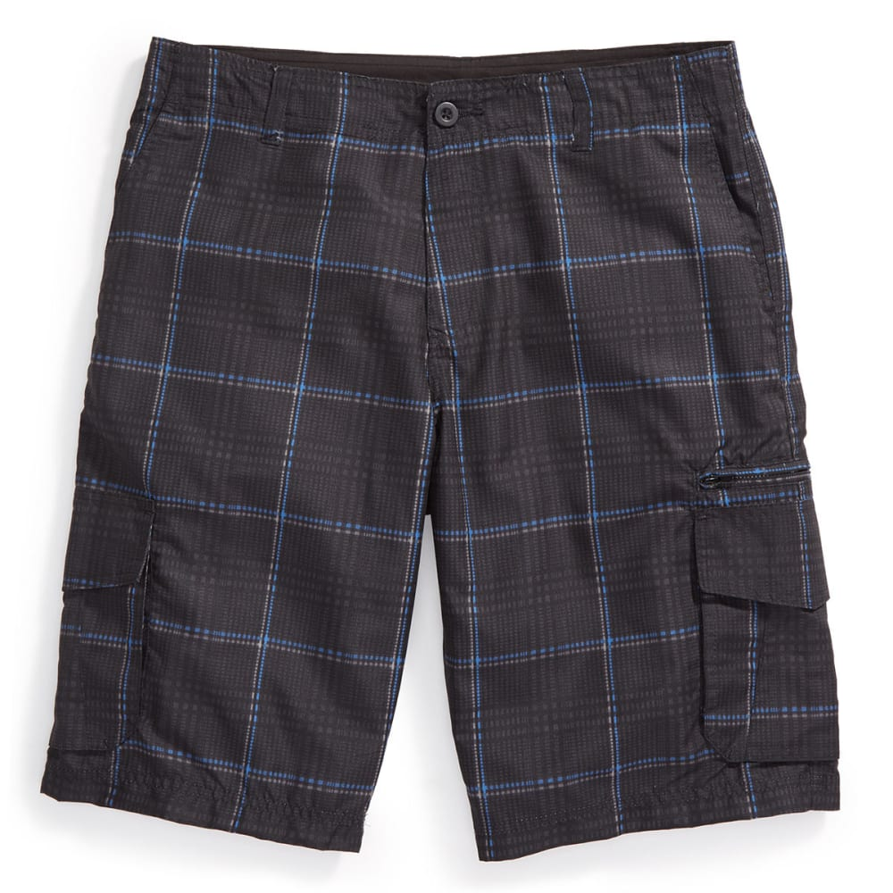 Burnside Guys' Microfiber Plaid Shorts - Black, 30