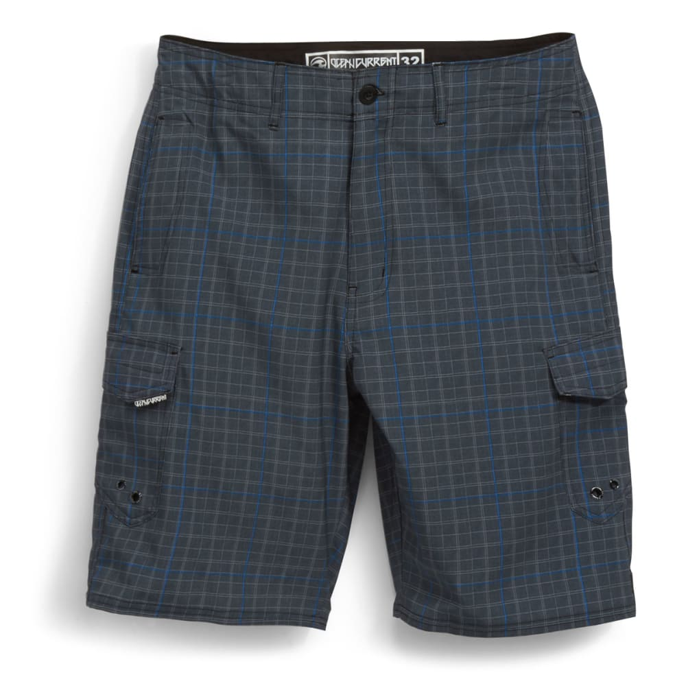 OCEAN CURRENT Men's Plaid Check Cargo Boardshorts - BLUE