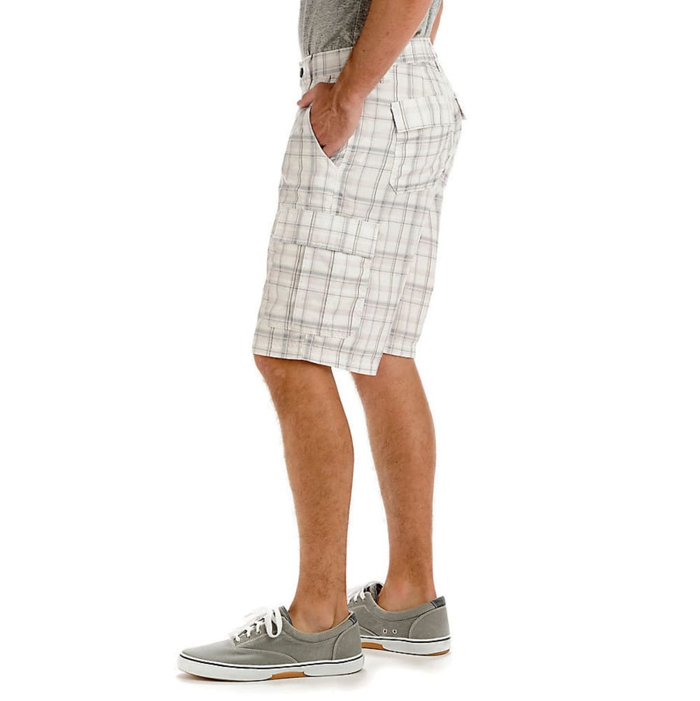 LEE Guys' Performance Cargo Plaid Shorts - PEWTER 5139