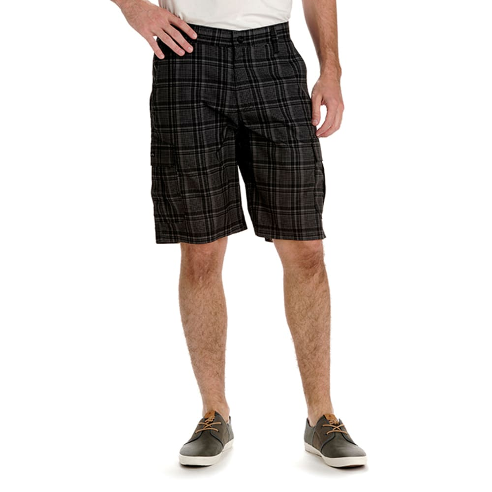 LEE Guys' Performance Cargo Plaid Shorts - GREY 5136