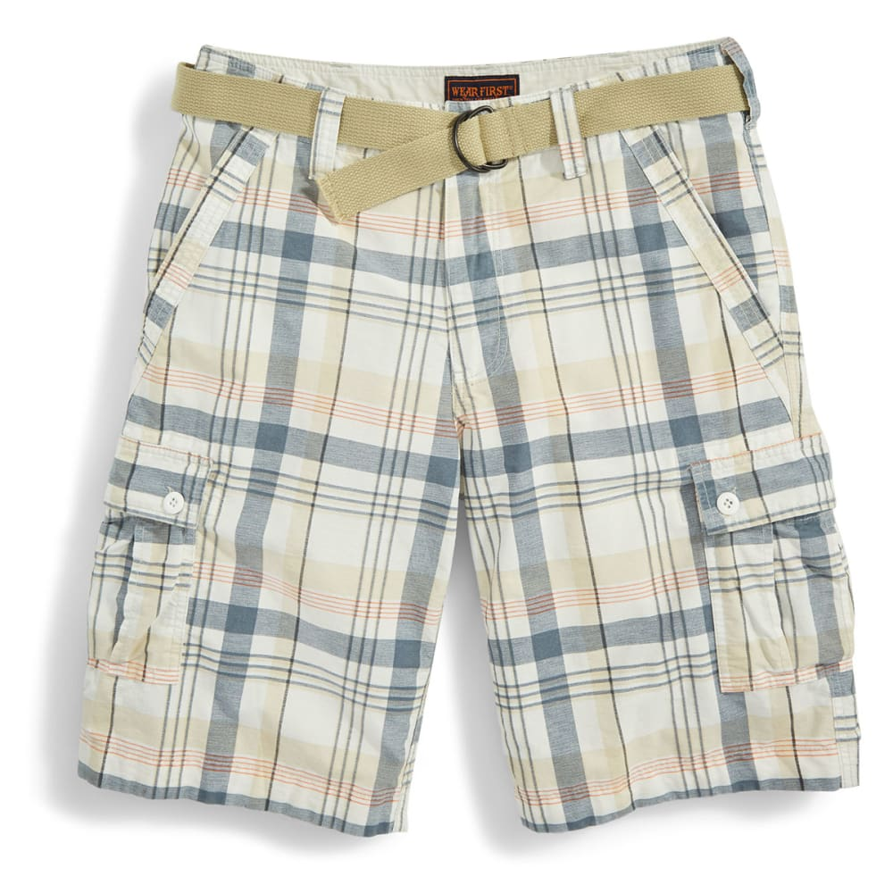 WEAR FIRST Guys' Belted Plaid Cargo Shorts - WHITE