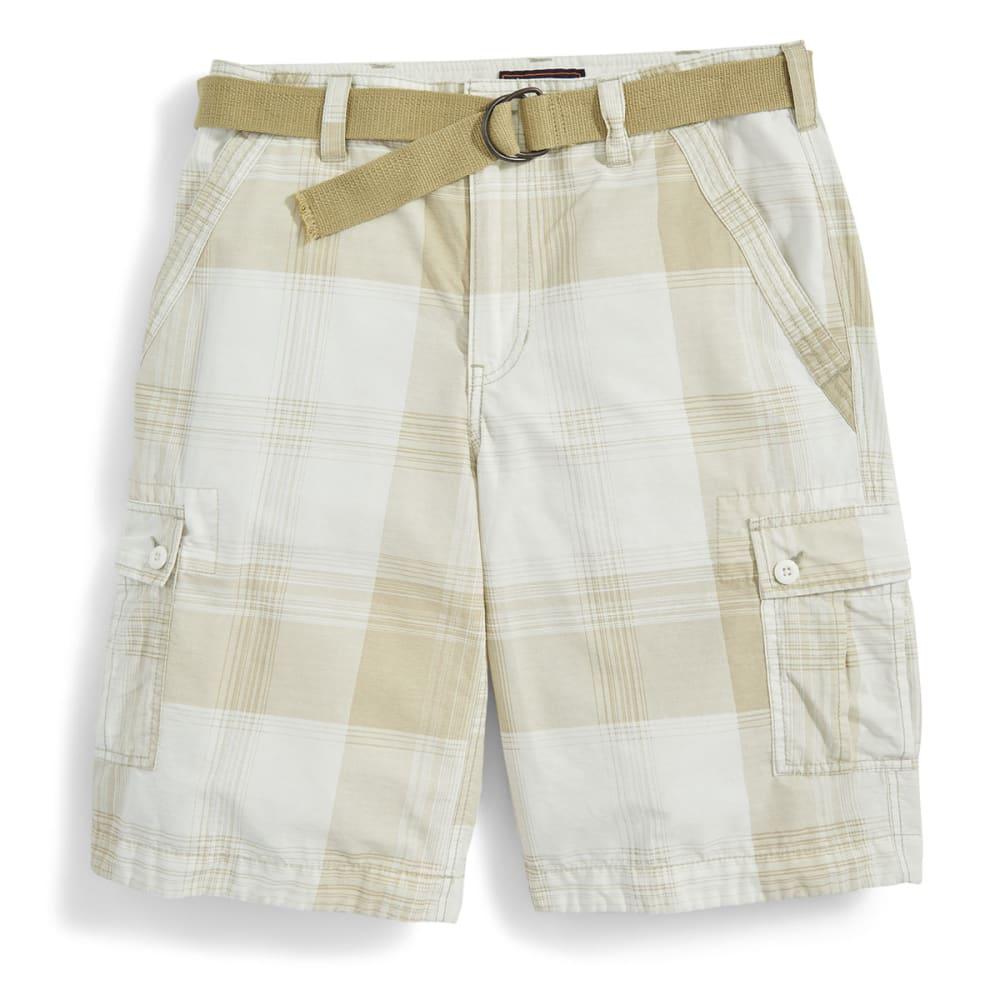WEAR FIRST Guys' Plaid Cargo Shorts - WHITE BETTER SWIPE