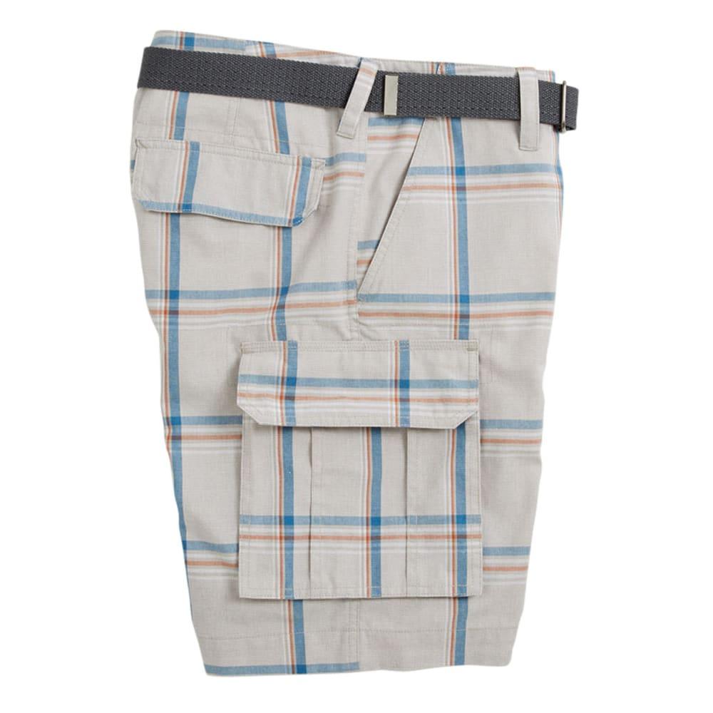 D55 Guys' Unite Plaid Stacked Cargo Shorts - STONE
