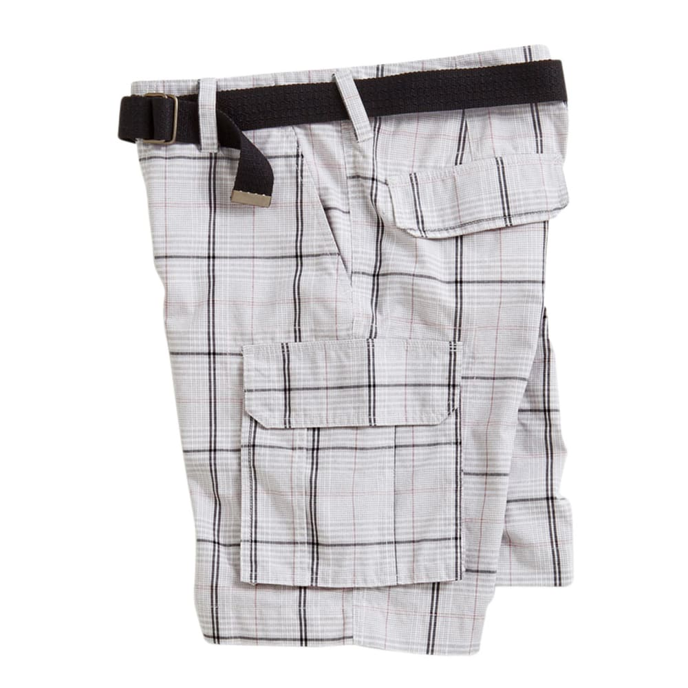 D55 Guys' Carbon Plaid Stacked Cargo Shorts - White, 28