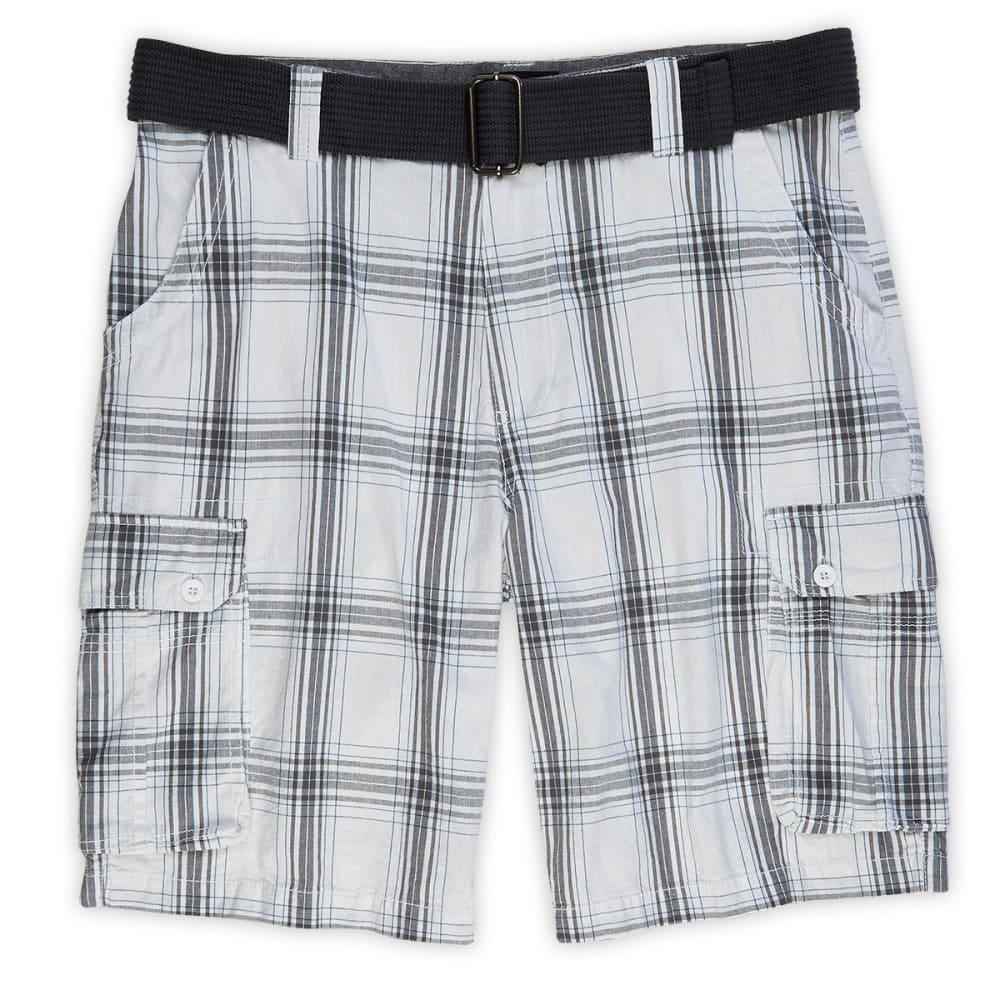 BURNSIDE Guys' Plaid Cargo Shorts - BLOWOUT - CALM WHITE