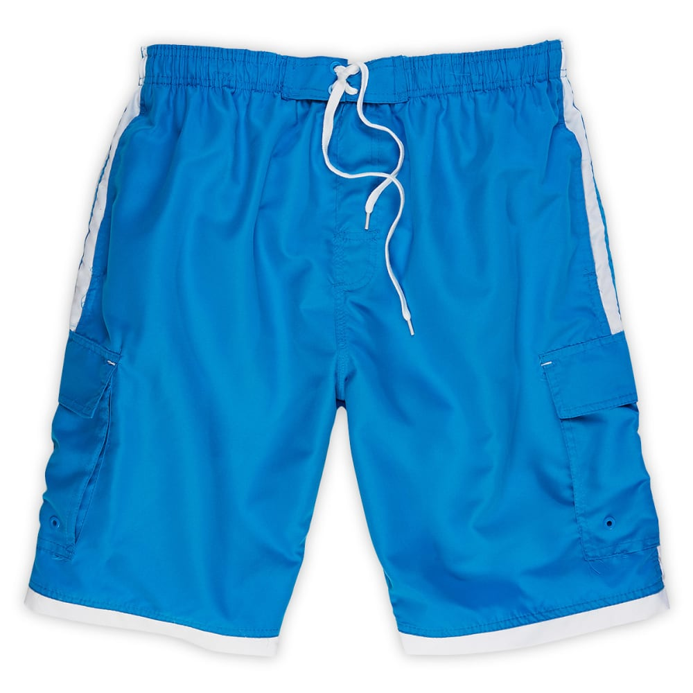 BURNSIDE Guys' Impersonator Stone E-Board Shorts - BLOWOUT - BLUE/WHITE
