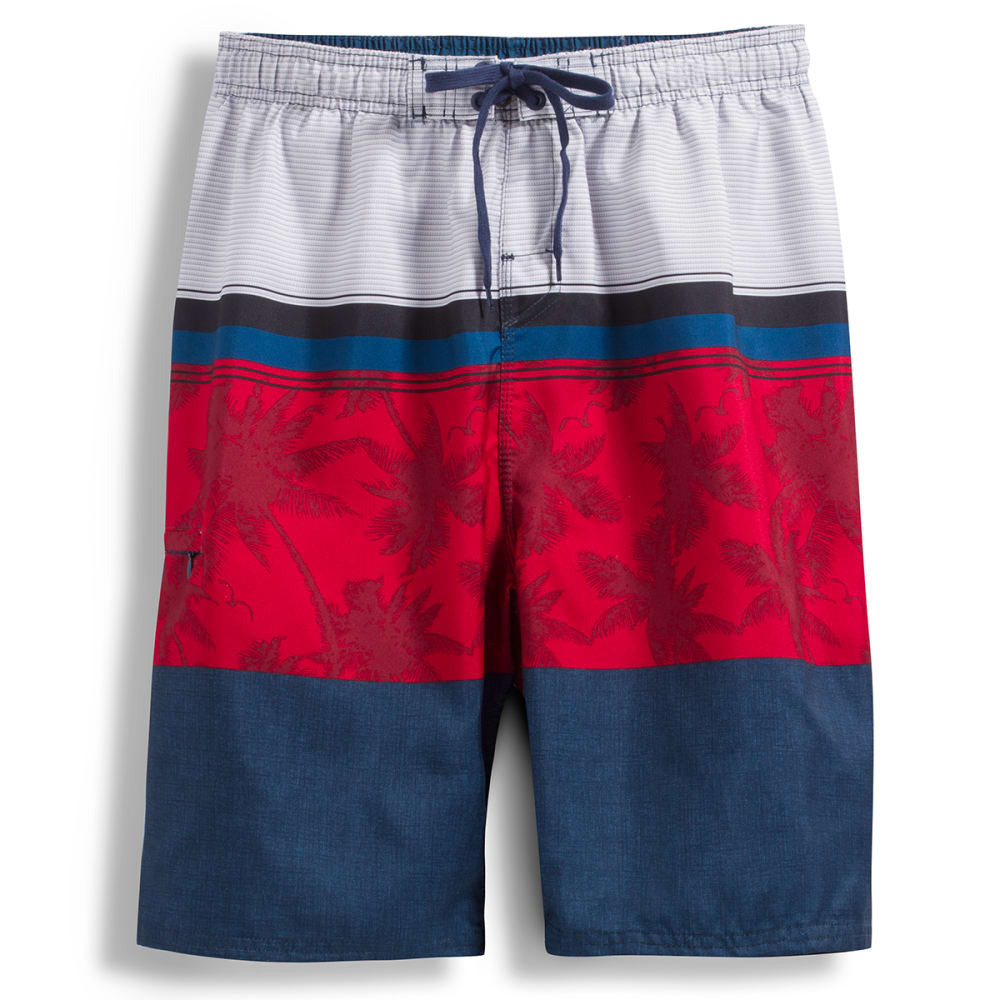 BURNSIDE Men's Molokai Boardshorts - RED PALM TREES
