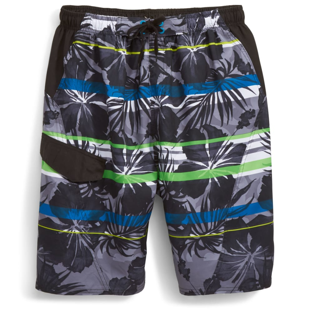 BURNSIDE Men's Hana Hou Floral Swim Shorts - BLACK