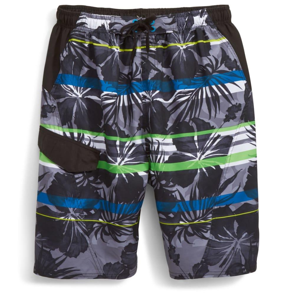 BURNSIDE Men's Hana Hou Floral Swim Shorts - BLACK