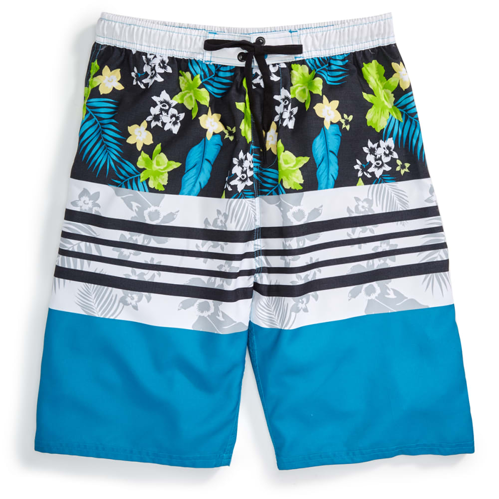 BURNSIDE Guys' Paradise Caribbean Board Shorts - MERIDIAN BLUE