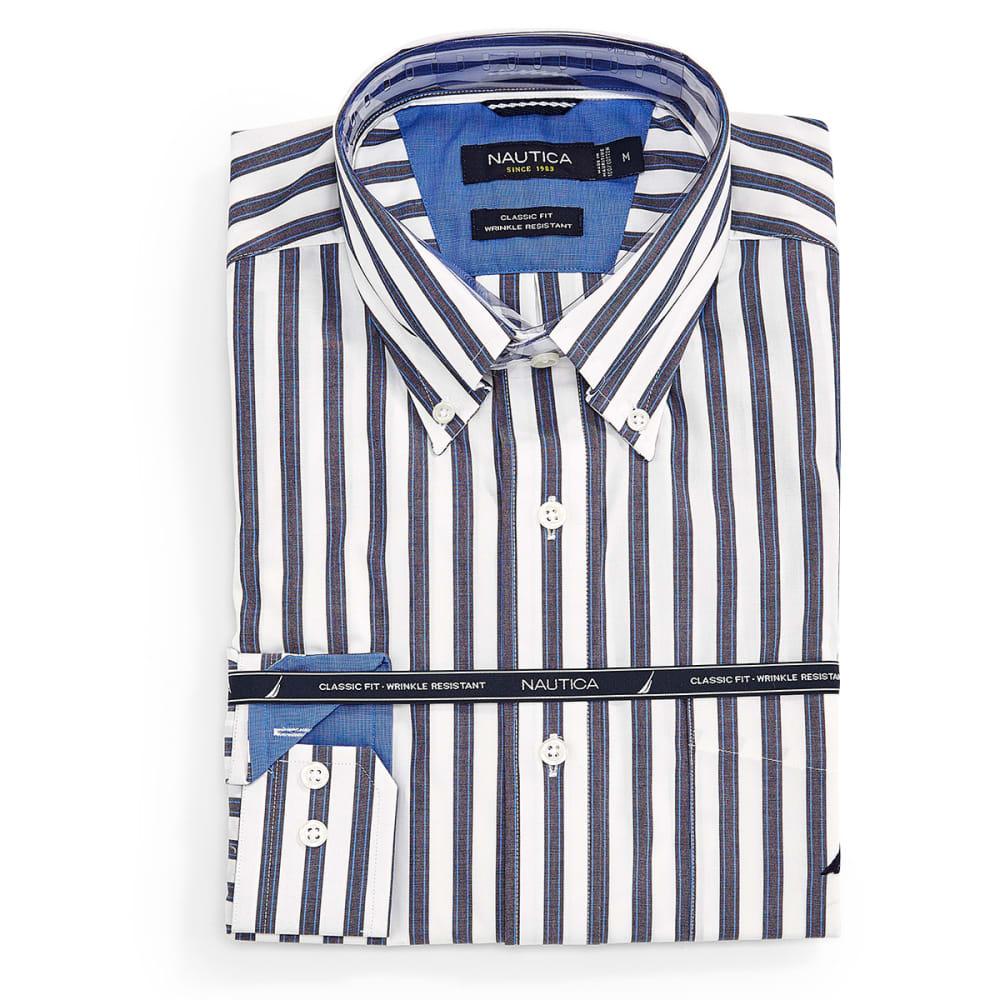 NAUTICA Men's Large Stripe Long-Sleeve Shirt - WHITE/LIGHT GREY