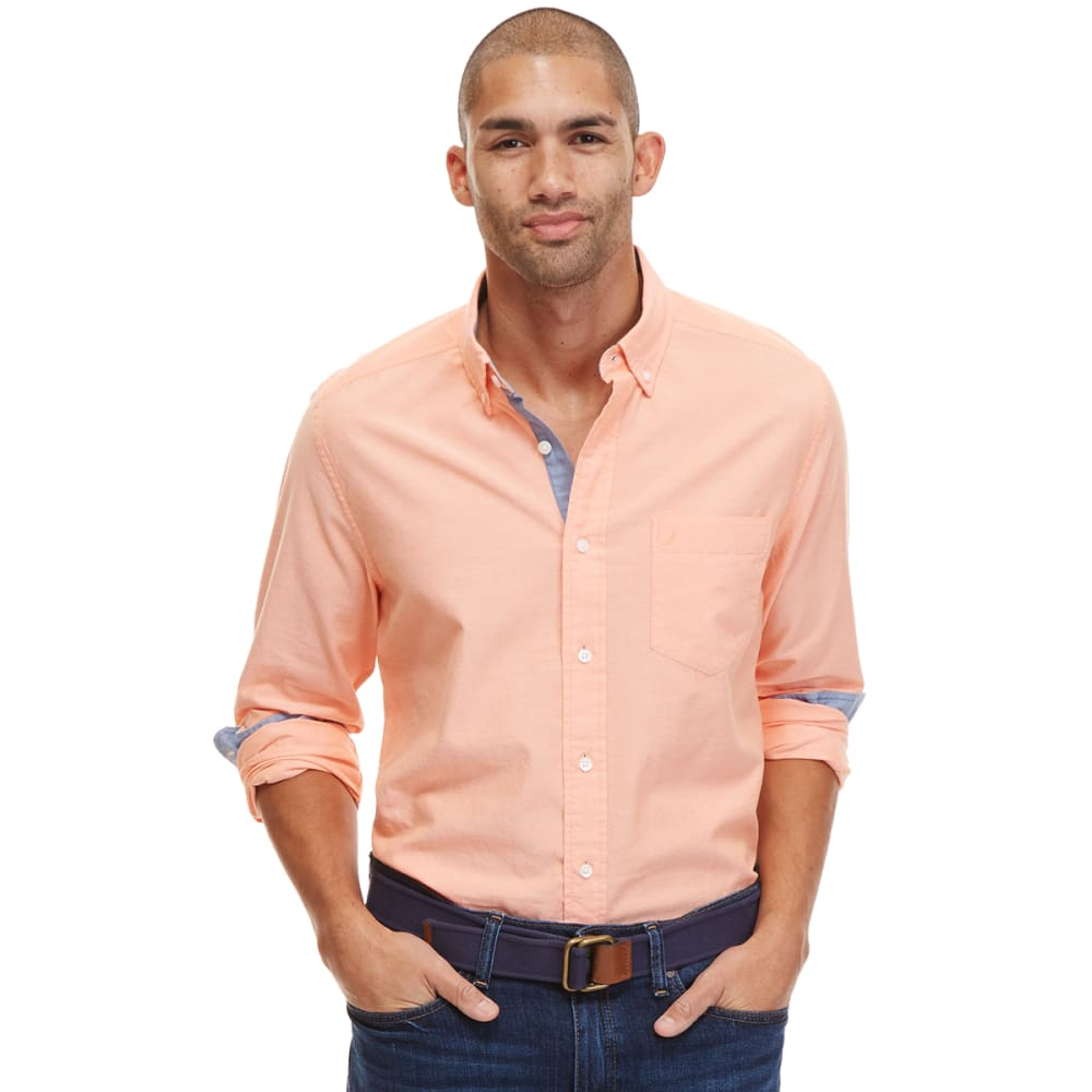 NAUTICA Men's Solid Oxford Long-Sleeve Shirt - SUNCTORT-8CR