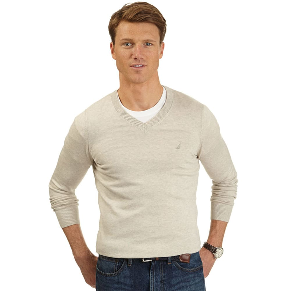 NAUTICA Men's V-Neck Sweater - BEIGE/TAN